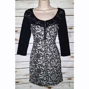 Free People Black & Grey Floral Body con Dress M